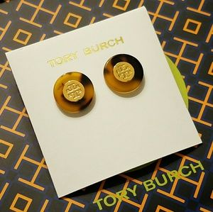 Tory burch circle tortoise logo stud earrings